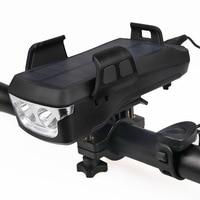 Luce per bicicletta multifunzione supporto per telefono cellulare corno Mountain Bike luce anteriore Power Bank USB ricarica solare faro per ciclismo