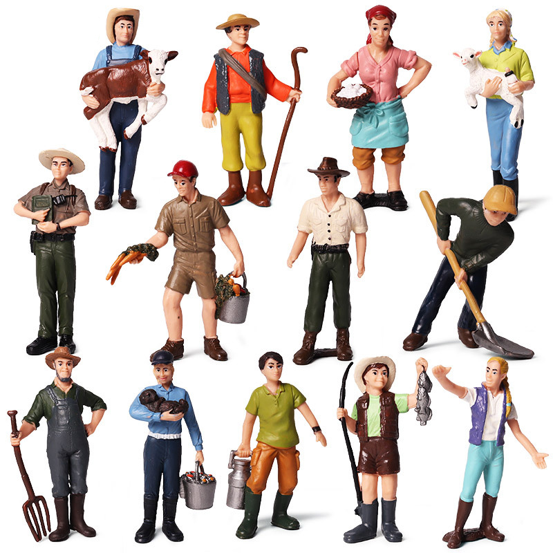Hot 1:25 Scale Farm Human Figure Worker Farmer Action Figure PVC People Model Figurine Decor Accessories Toys For Children Gift