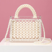 Transparent Handbag Pearl-Bag Shoulder-Bag Women Luxury Beaded for Acrylic