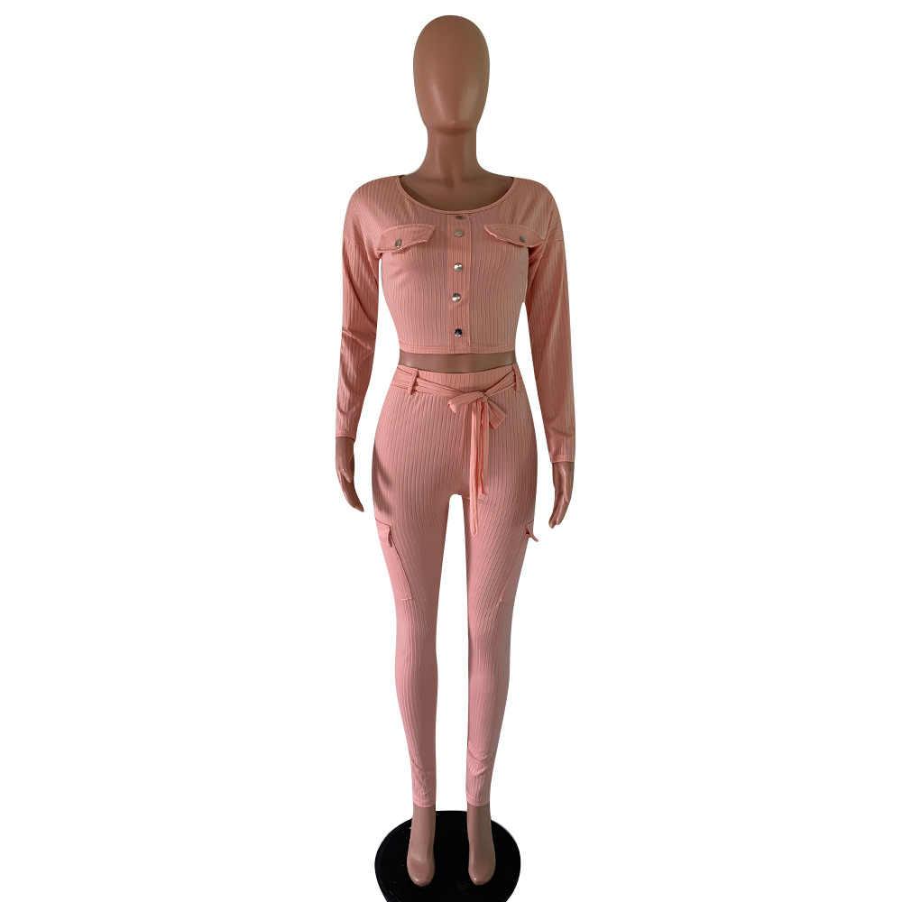 Outono feminino malha costela sexy 2 peça conjunto feminino 2019 inverno casual cinza conjuntos de correspondência roupa 2 peça conjunto elegante calças retas
