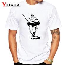 цены на T-Shirt Mens Womens Ink Ice Cream 3D Print Funny Graphic Tees Casual O-Neck Creative White Tee Shirts Tops  в интернет-магазинах