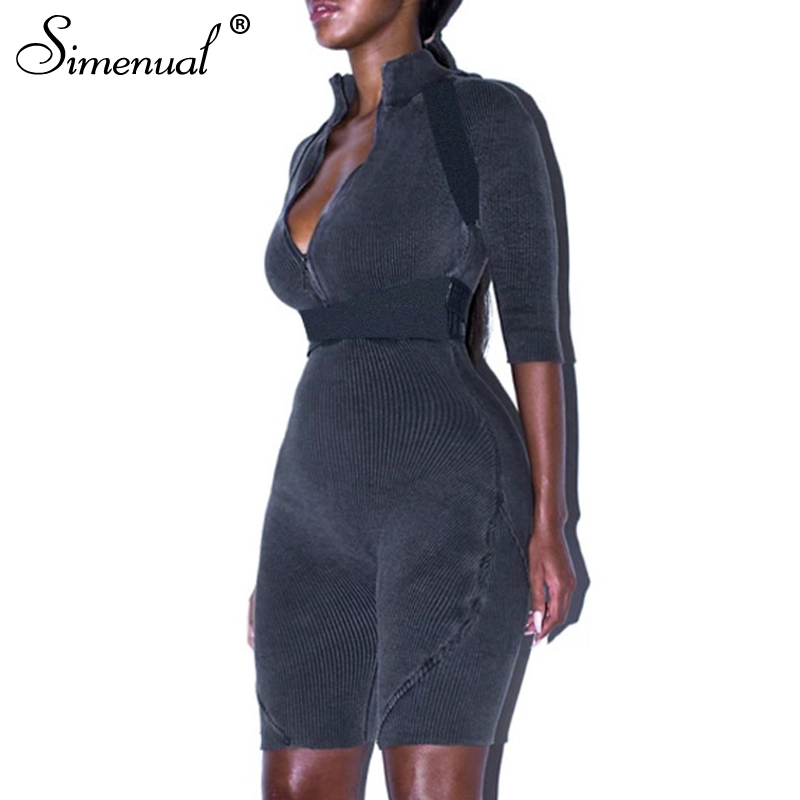 Simenual Ribbed Casual Zipper V Neck Rompers Women Jumpsuit Workout Sporty Short Sleeve Skinny Biker Shorts Playsuits Fashion
