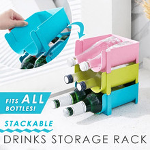 Stackable Drinks Storage Rack Shelf Home Tools Space Saving For Refrigerator L0829