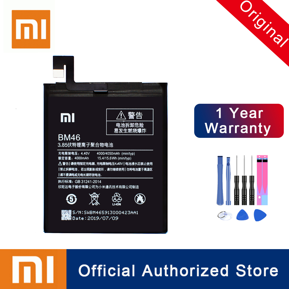 Xiao Mi 100% Original BM46 Battery For Xiaomi Redmi Note 3 / Note 3 Pro Batterie Real Capacity 4760mAh Rechargeable Batteria image