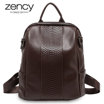 Zency Crocodile Pattern Women Backpack Made Of Genuine Leather Large Capacity Travel Bag High Quality Schoolbag Knapsack Black
