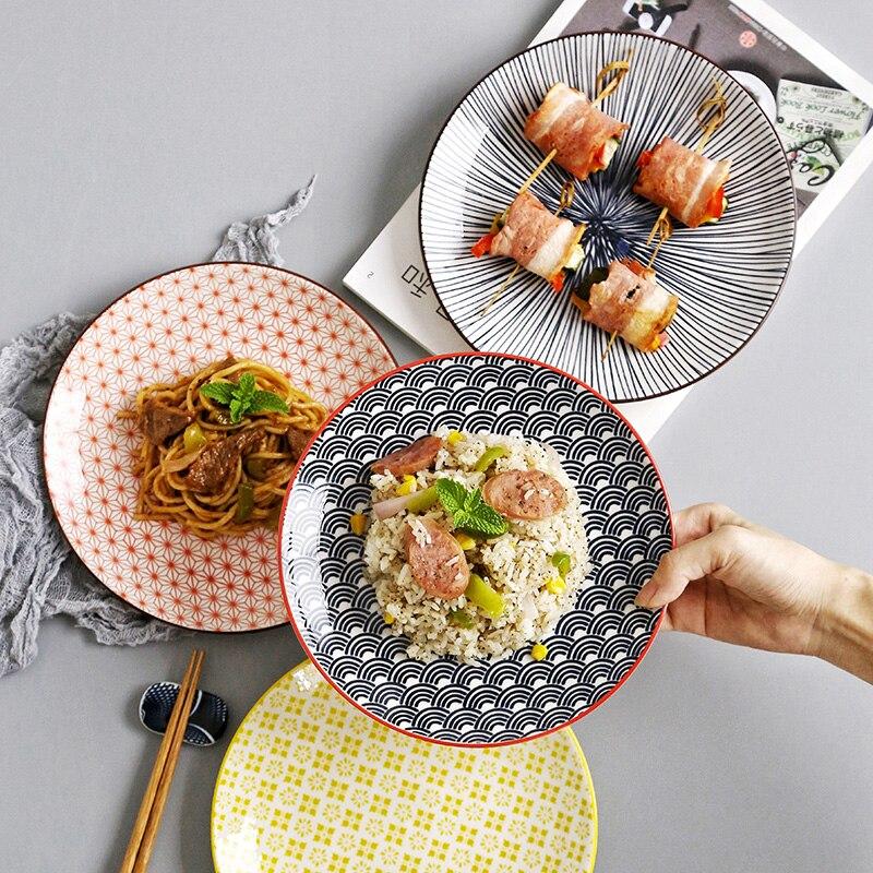 >8inch <font><b>Ceramic</b></font> household dish plate Japanese <font><b>style</b></font> <font><b>Nordic</b></font> ins plate creative flat meal steak plate tableware LB011115 bone china