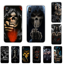 Grim Skull Skeleton Death Prayer Soft Silicone TPU Phone Cover For iphone 4 4s 5 5S SE 5C 6 6S 7 8 plus X XS XR 11 PRO MAX(China)