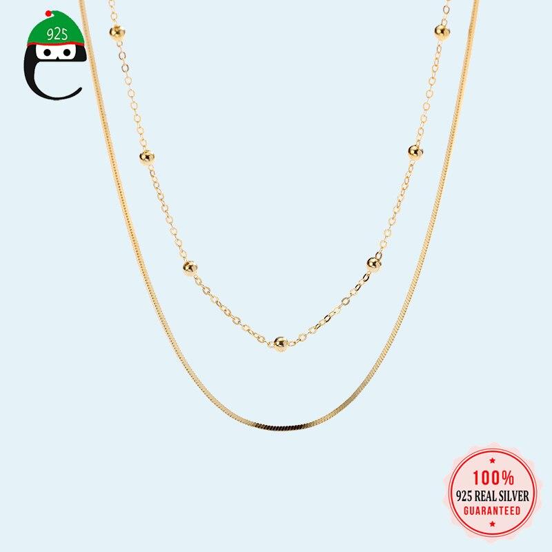 더블 레이어 체인 목걸이 100% 925 스털링 실버 목걸이 구슬 스타일 쥬얼리 여성을위한 좋은 선물 레이디 DS1678