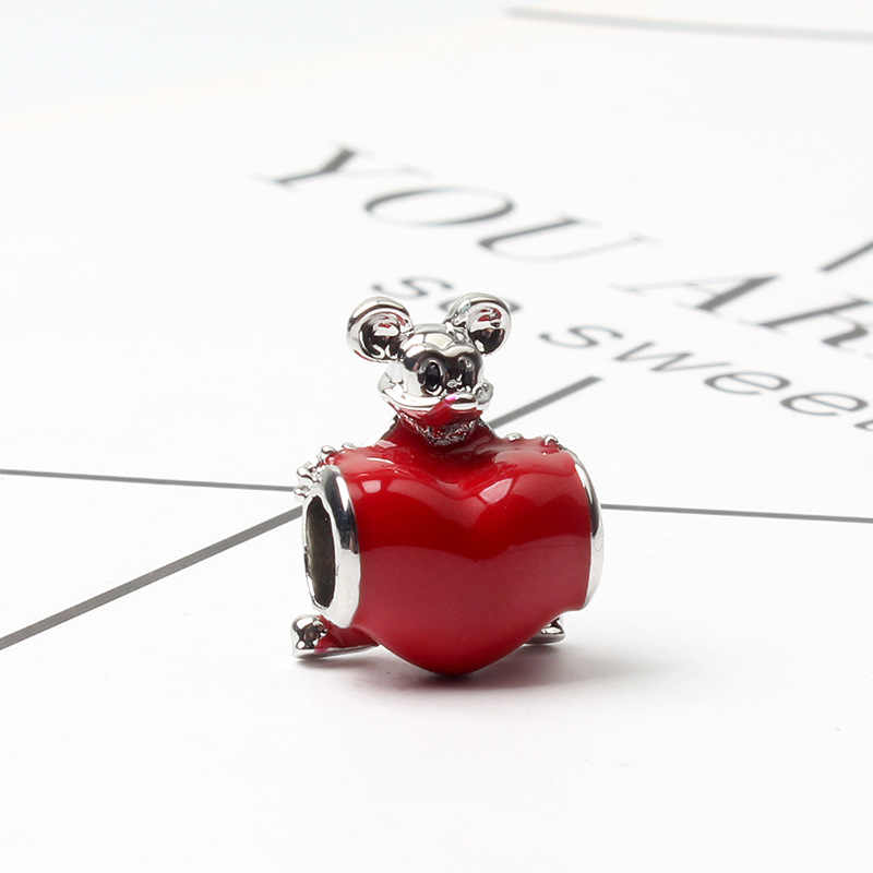 무료 배송 사랑 미키 선물 상자 매력 비즈 판도라 팔찌 & 목걸이에 맞게 diy 만들기 패션 쥬얼리 액세서리