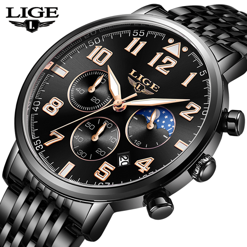 LIGE 2019 New Mens Watches Top Brand Luxury Business Quartz Watch Men Sports Full Steel Waterproof Black Clock Relogio Masculino in Quartz Watches from Watches