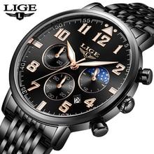 LIGE 2019 New Mens Watches Top Brand Luxury Business Quartz Watch Men Sports Full Steel Waterproof Black Clock Relogio Masculino
