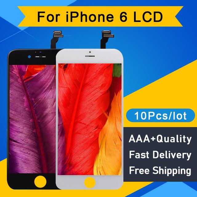 10 ピース/ロット品質aaa iphone 6 lcdディスプレイタッチスクリーンデジタイザアセンブリの交換液晶pantalla 4.7 送料無料dhl