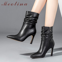 Meotina Winter Ankle Boots Women Natural Genuine Leather Zip Thin Heels Short Pleated Super High Heel Shoes Lady 39