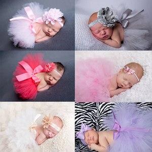 Dziecko Tutu sukienka kwiaty Tiara komplet garniturów dla noworodka Fotografia rekwizyty spódnica sesja zdjęciowa sukienki dla dziewczynek Fotografia akcesoria