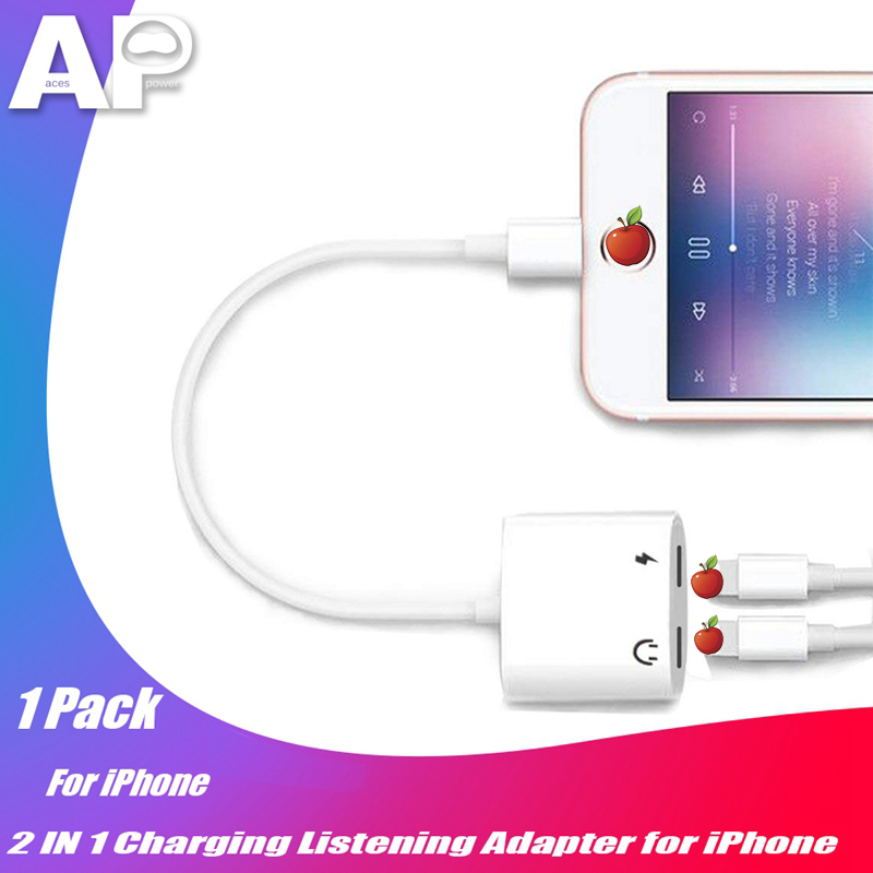 Acespower 2 in 1 Adapter for iPhone 7 8 Plus 11 Pro X XS MAX XR Charging Listening Earphone <font><b>Cable</b></font> Dual IOS Connector Splitter image