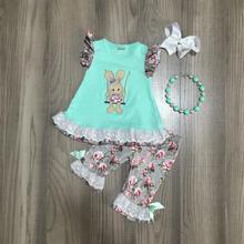 Primavera/estate di Pasqua mint bunny top grigio fiore capris del bambino vestiti delle ragazze del cotone delle increspature boutique set partita accessori