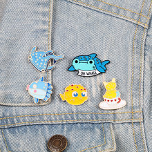 Shark Whale Octopus Puffer vis Emaille Pins Zee Dieren Broches Jassen Pin Shirt Leuke Badge Mode-sieraden Cadeau voor Kids(China)