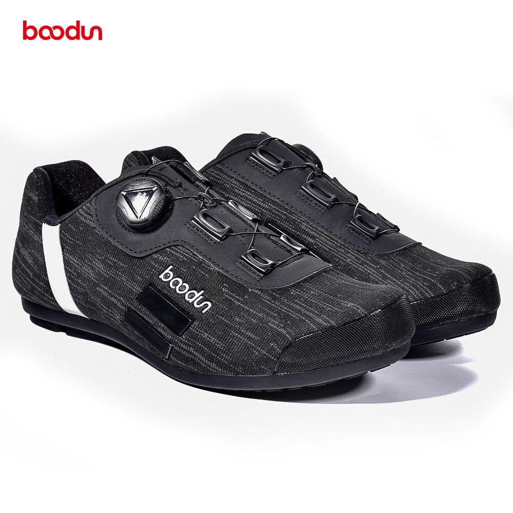 Boodun Unself-Lock chaussures de cyclisme vtt route loisirs extérieur chaussures Nylon semelle noir unti-wear thermoplastique vélo hommes chaussures