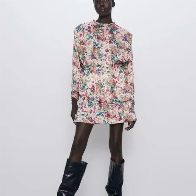 ZA Spring New Women Floral Print Full Sleeve Above Knee Dress Chic Ladies Fashion Casual Female Dresses