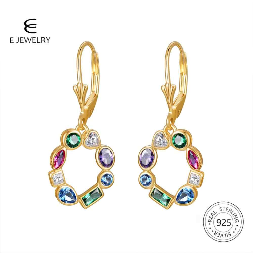 E Jewelry 925 Sterling Silver Drop Earrings 18K Gold Plated Cubic Zirconia Hollow Round Swarovski Earring for Women Party Gift