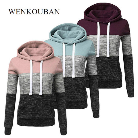 Hoodies Women Sweatshirts Fashion Womens Casual Hoodies Sweatshirt Patchwork Ladies Hooded Pullover Women Clothes Bluza Damska Pakistan