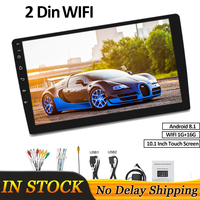 "1+16G 10.1"" 2 Din 4G Universal Car Radio Andriod 8.1 Bluetooth WIFI GPS Quad Core Interchangeable DVD Player Navigation"