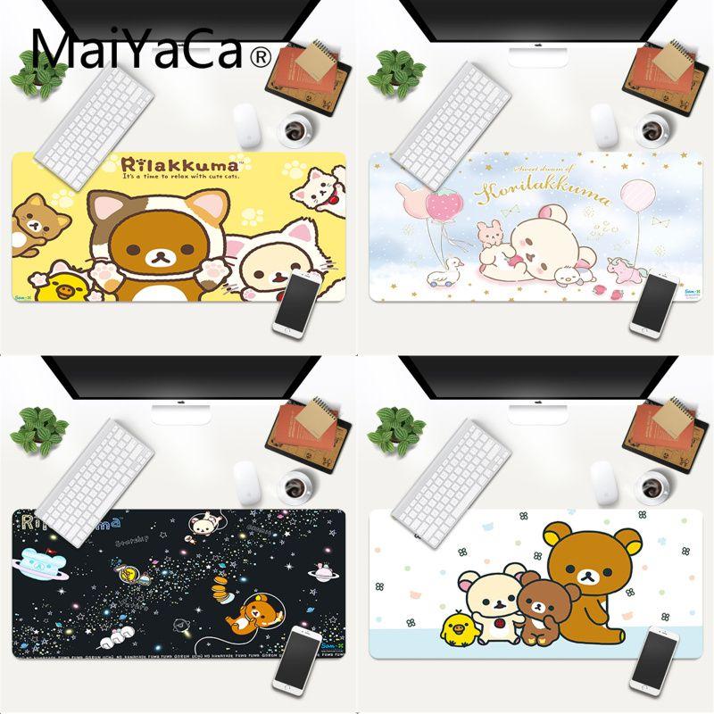 MaiYaCa-alfombrilla de ratón Kawaii rilakkuma para gaming, XXL, para ordenador portátil de escritorio, regalo de Navidad