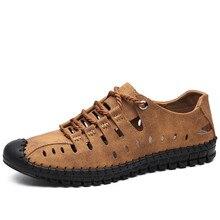 Новинка года; летние мужские сандалии из натуральной кожи; Повседневная обувь в деловом стиле; мужские уличные пляжные сандалии; мужская летняя водонепроницаемая обувь в римском стиле; размер 48