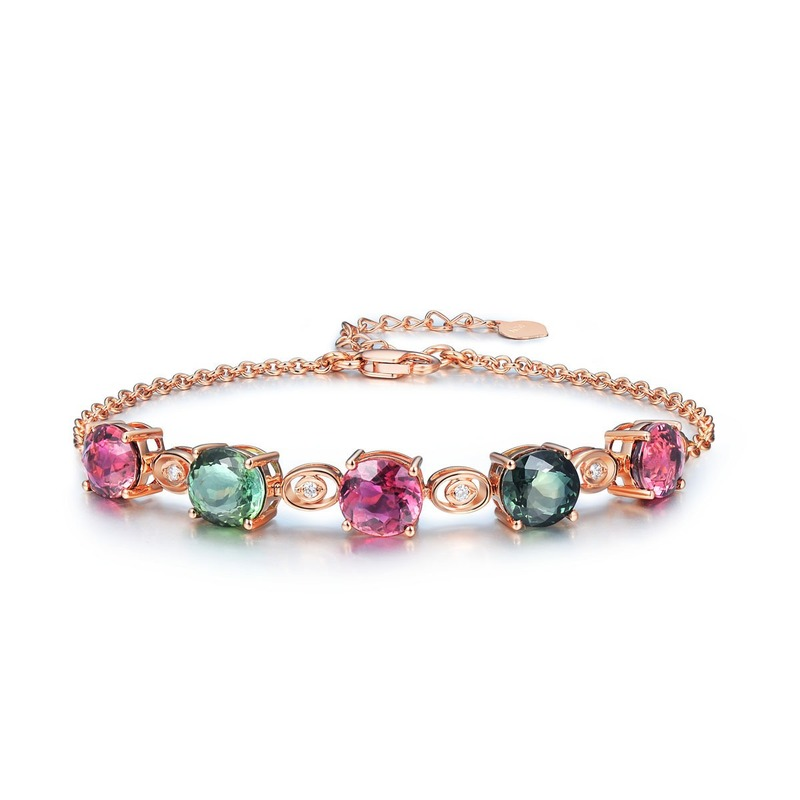 Natural 6mm Red Green Tourmaline Gemstone Bracelet For Women 18K Rose Gold AAA Zircon Diamond Bracelet Hand Chain Fine Jewelry