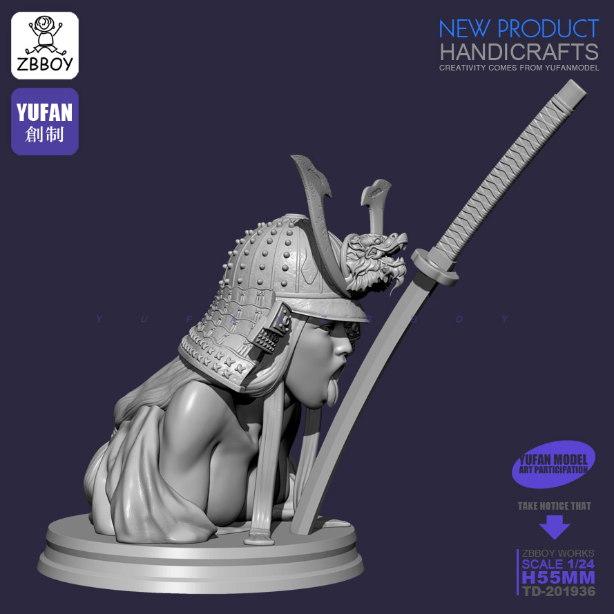 55MM Resin Bust Kits Banshee Samurai Kiss Self-assembled