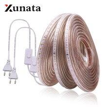 Bande lumineuse LED, 220V, 3014 SMD, étanche, 120 diodes/m, corde extérieure, blanc/blanc chaud/bleu, prise interrupteur ue