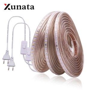 Image 1 - 220V LED Light Strip 3014 SMD Waterproof 120LEDs/m Outdoor Rope LED Strip Light White/Warm White/Blue EU Power Switch plug