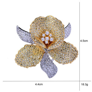 Image 2 - Luxury AAA Zircon Rhinestone Flower Brooch Christmas Pin Vintage Crystal Orchid Pins and Brooches for Women Accessories Jewelry