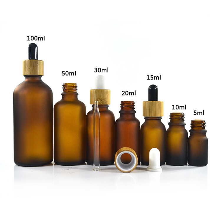 Frosted Amber And Matte White Glass Bottle With Bamboo Lid  For 15ml 30ml 50ml 100ml Each 1 Pc