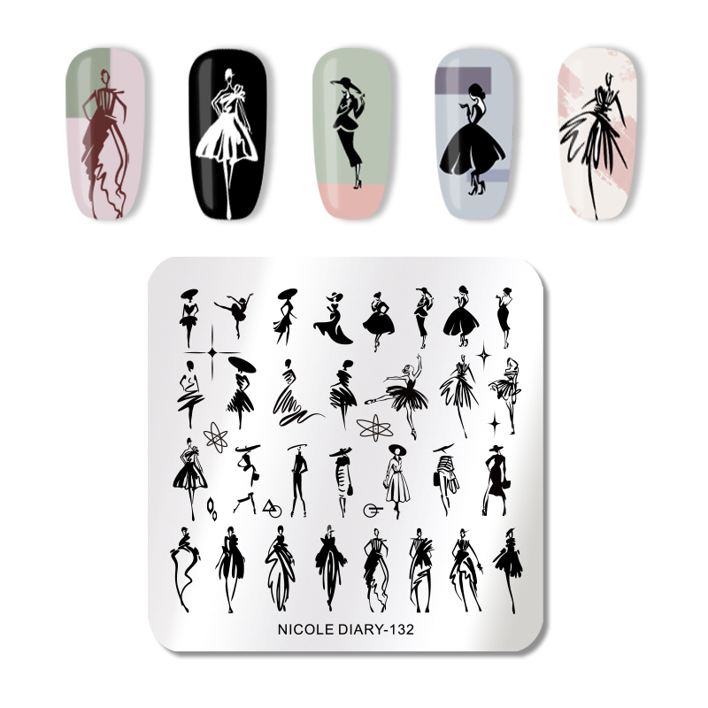 NICOLE DIARY Nail Art Stamp Plate Nail Stamping Template Flower Geometry Animals DIY Nail Designs  Image Print Stencil
