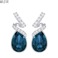 High quality 1:1 SWA best crystal, blue-red 925 pure silver earrings цена и фото