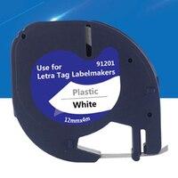 91201 5pk/lote compatível para dymo plástico fita 12mm preto no branco lt 91201 91331 para dymo lt impressora LT 100T Materiais de impressão 3D Computador e Escritório -