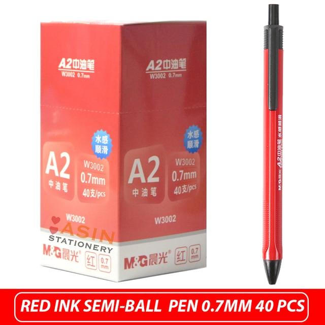 M&G 40pcs Semi Gel Writing Ball Point Pen 0.7mm Black/Blue/Red Economic Ball Pen for School and Office Gift Supply  Ballpoint 5