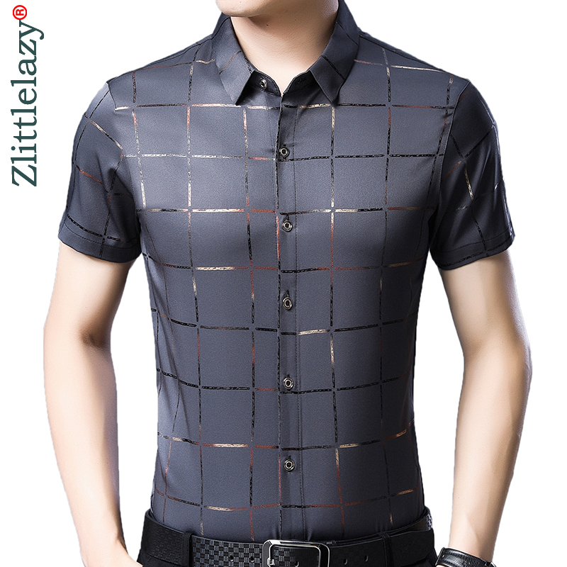 2019 Brand Casual Summer Luxury Plaid Short Sleeve Slim Fit Men Shirt Streetwear Social Dress Shirts Mens Fashions Jersey 51512