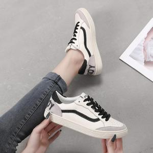 Image 2 - 3 Colors Women Casual Shoes Comfortable Gold Black Sneakers Fashion Lace Up Leather Flats Shoes