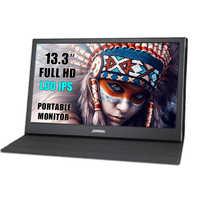 Monitor portátil hdmi pantalla táctil de 13,3 pulgadas 2K PC PS4 Xbox 360, 1080P IPS LCD pantalla LED para Raspberry Pi interruptor de ordenador portátil