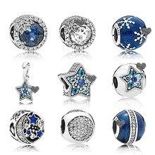 Nueva pulsera azul esmaltada de invierno con forma de copo de nieve 100% Plata de Ley 925 con cuentas y abalorios con forma de Luna Azul DIY para hacer joyas