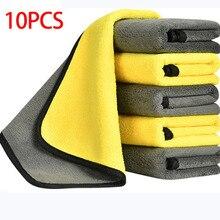 10 pces/5 pces/3 panos grossos da limpeza de microfibra dos pces absorção forte não toalhas abrasivas do microfiber para trapos da limpeza da casa para o carro