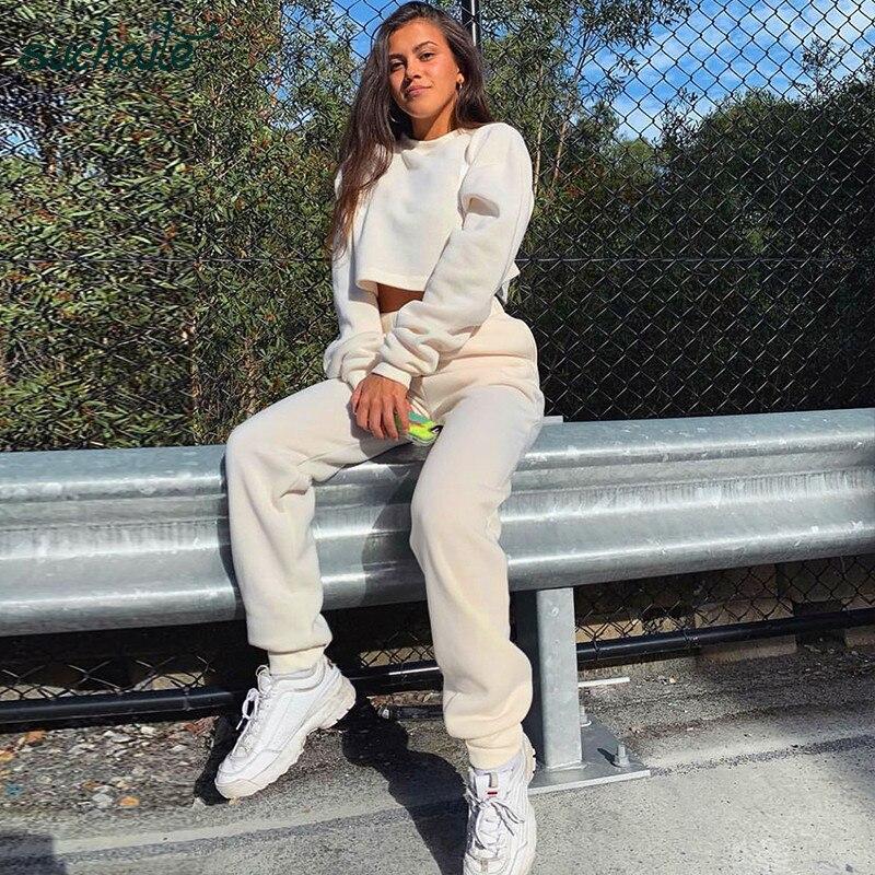 SUCHCUTE 2019 Autumn Winter Two Piece Set Top Pants Long Sleeve Crop Hoodies Women Casual Cotton Sweatpants High Waist Trousers