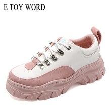 E TOY WORD Large Size 41 Women Sneakers 2019 Autumn Casual White Chunky Daddy Shoes women Fashion Vulcanize woman