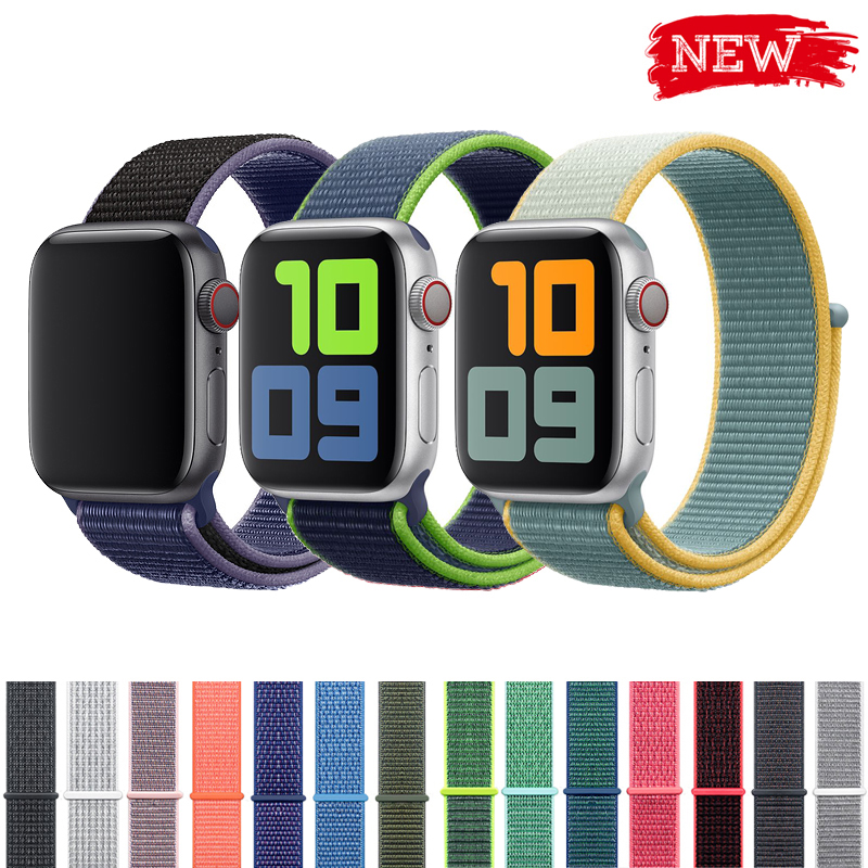 Sport Loop Strap For Apple Watch Band 4 3 44mm 42mm 38mm 40mm Iwatch Belt 5/4/3/2/1 Bracelet Double-layer Nylon Weave Watchband