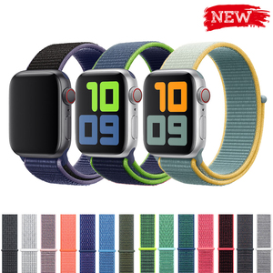 sport loop strap for apple watch band 4 3 44mm 42mm 38mm 40mm iwatch belt 5/4/3/2/1 bracelet double-layer nylon weave watchband(China)