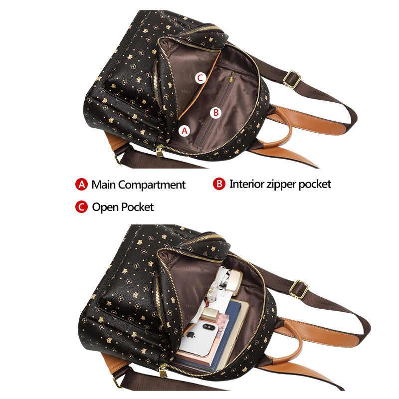 FOXER 패션 모노그램 배낭 레이디 빈티지 팩 가방 여성 여행 배낭 PVC 가죽 여성 대용량 Satchel Bookbag