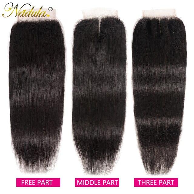 Nadulaヘアブラジルストレートヘア閉鎖10 20インチ無料/中部pu/スイスレース閉鎖ナチュラル色のremy毛織り