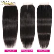 Nadula Haar Brasilianische Gerade Haar Verschluss 10 20INCH Free/Mittleren Teil PU/Schweizer Spitze Schließung Natürliche farbe Remy Haar Weben